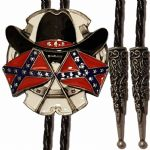 Cowboy Stetson Hat and Confederate Flags Bolo Tie. Code BTWW45E